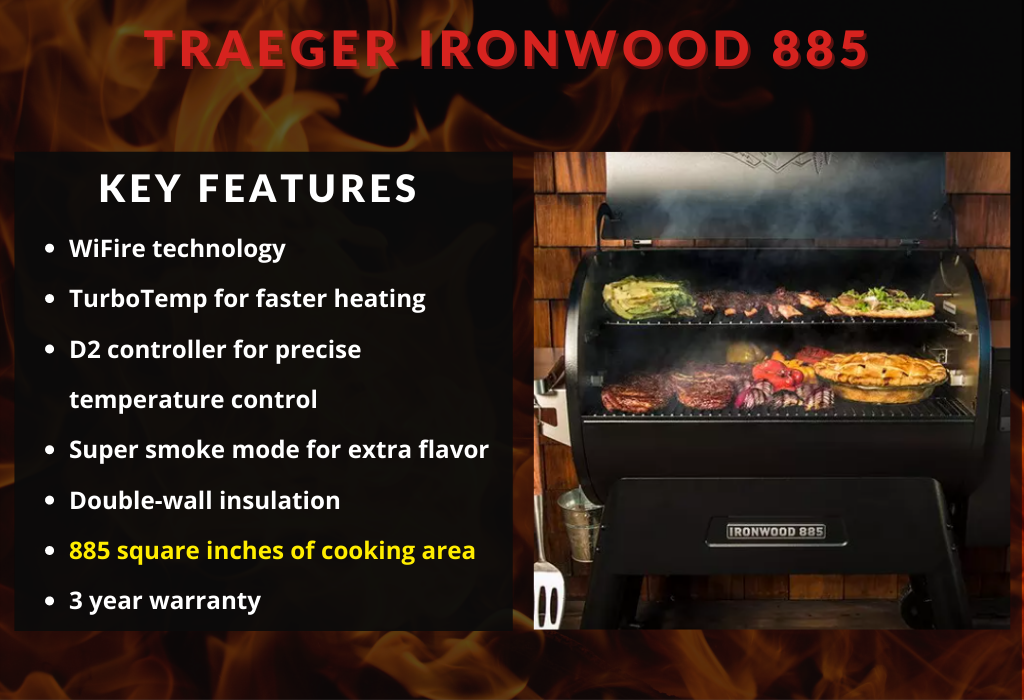 Traeger Ironwood 885 Wood Pellet Grill Key Features