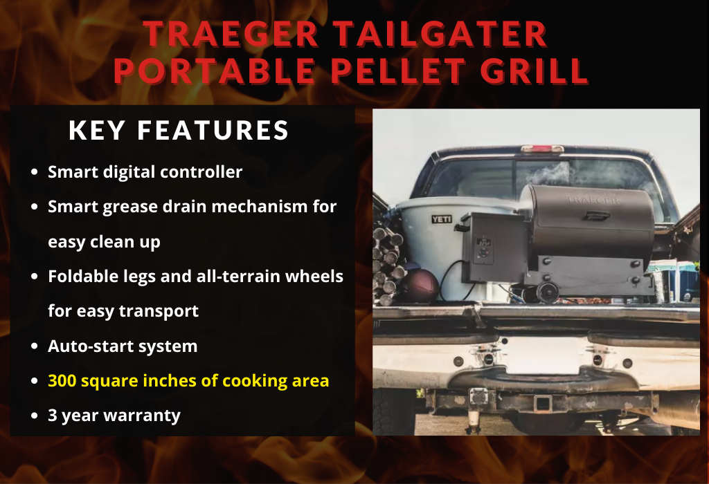 Traeger Tailgater Portable Pellet Grill Key Features