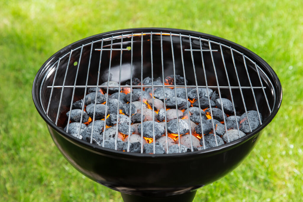 charcoal grill outside